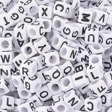 Godagoda Mixed White Acrylic Cube Shape Alphabet A to Z Engraved Loose Beads Pack of 500pcs