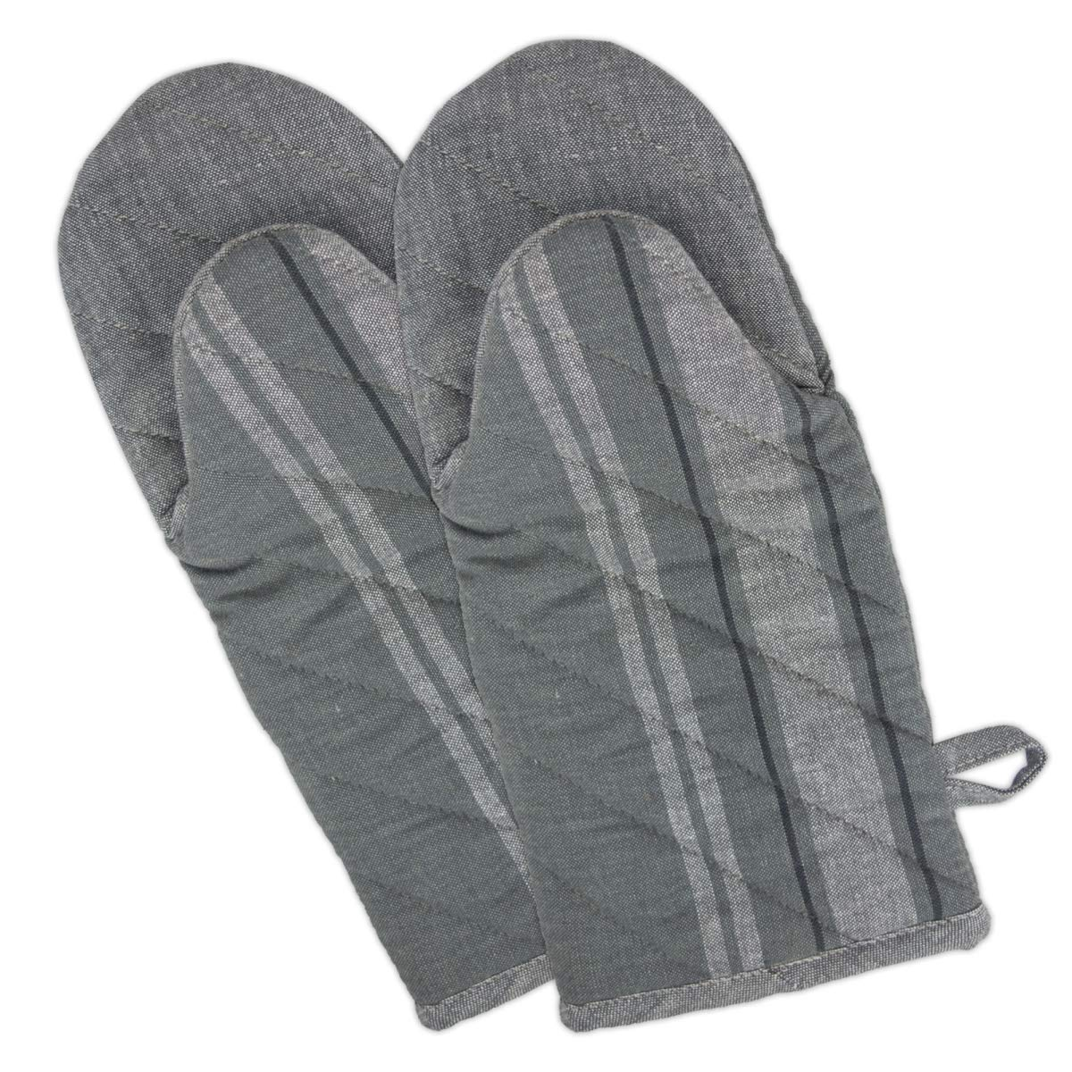 Design Imports CAMZ36492 Gray Chambray French Stripe Oven Mitt - Set of 2