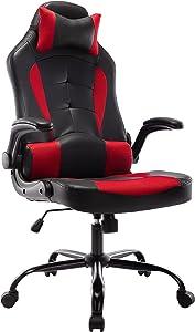 Furniture of America Den Ergonomic Gaming PU Leather Computer Chair, Black/Red