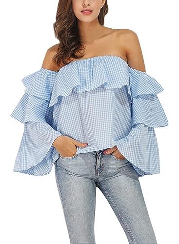 Azbro Mujer Blusa Suelta Estampado Tartán con Cuello Oblicuo Mangas de Volantes