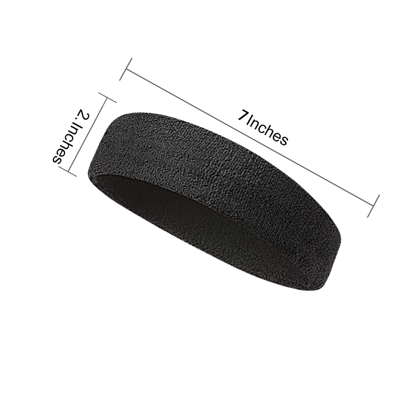 Elehere 2018 New Sweatband Wristband for Sports Basketball Football Absorbent Party Outdoor 3.5'' Pack of 6 (Black- Headbands & Wristbands) by Elehere (Image #2)