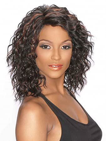Wendy Wig Color 1B - Carefree Wigs Mid Length Wavy Synthetic No Bangs  African American Womens 7322784b5