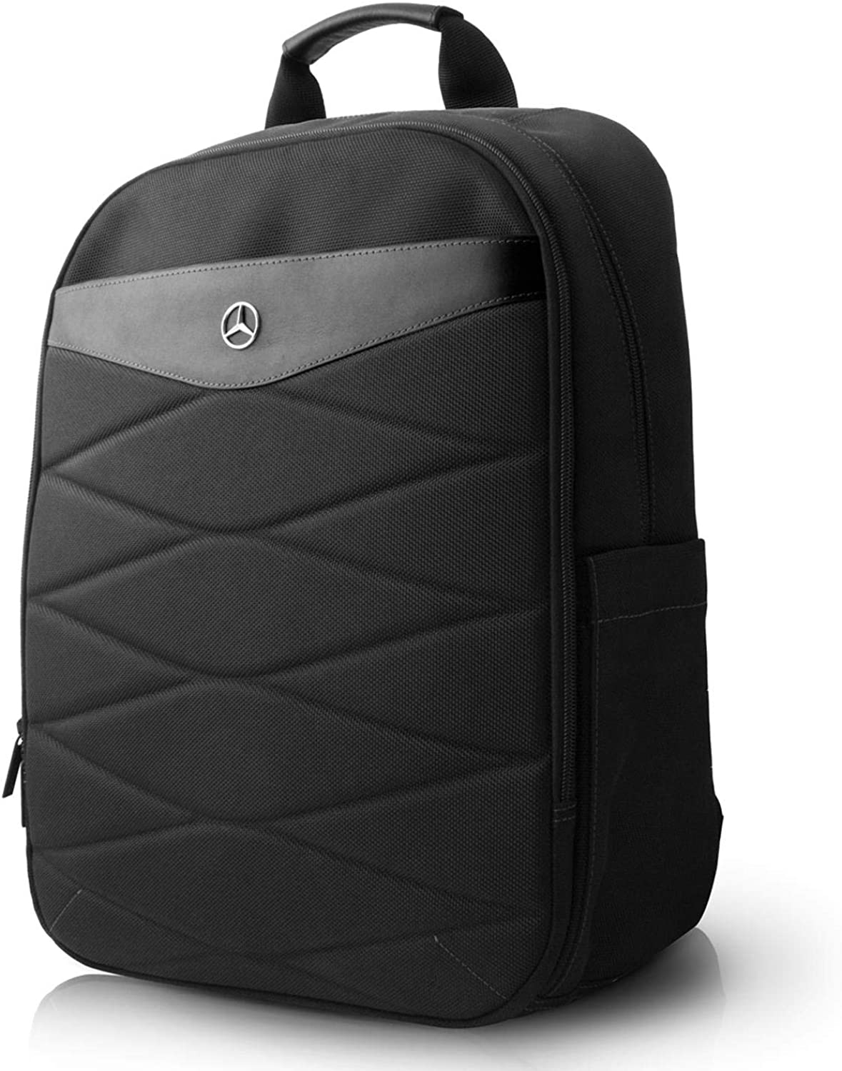 """Mercedes-Benz Computer BackPack 15"""" 15.6"""" Nylon with PU Leather Plate MacBook Pro Bag and a Slim-Fit pocket for an iPad, iPad Mini, or tablet up to 10.1'' Black Pattern III"""