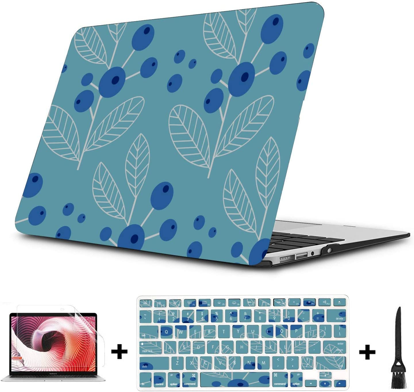MacBook Air Cover Summer Sweet Sour Fruit Blueberry Plastic Hard Shell Compatible Mac Air 11 Pro 13 15 MacBook Pro Accessories Protection for MacBook 2016-2019 Version