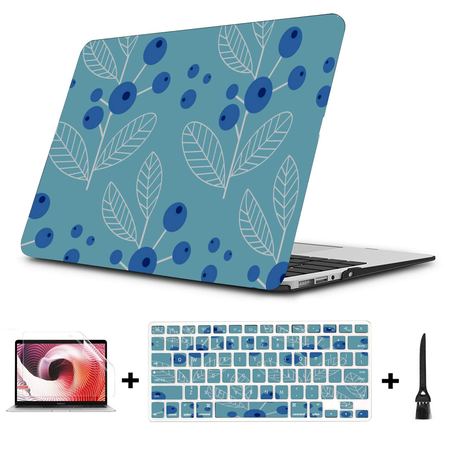 MacBook Accessories Summer Sweet Sour Fruit Blueberry Plastic Hard Shell Compatible Mac Air 11 Pro 13 15 MacBook Air Case A1466 Protection for MacBook 2016-2019 Version