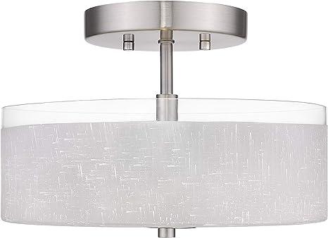 "Hampton Bay Nove 13/"" Brushed Nickel Square Semi-Flushmount w//White Glass Shade"