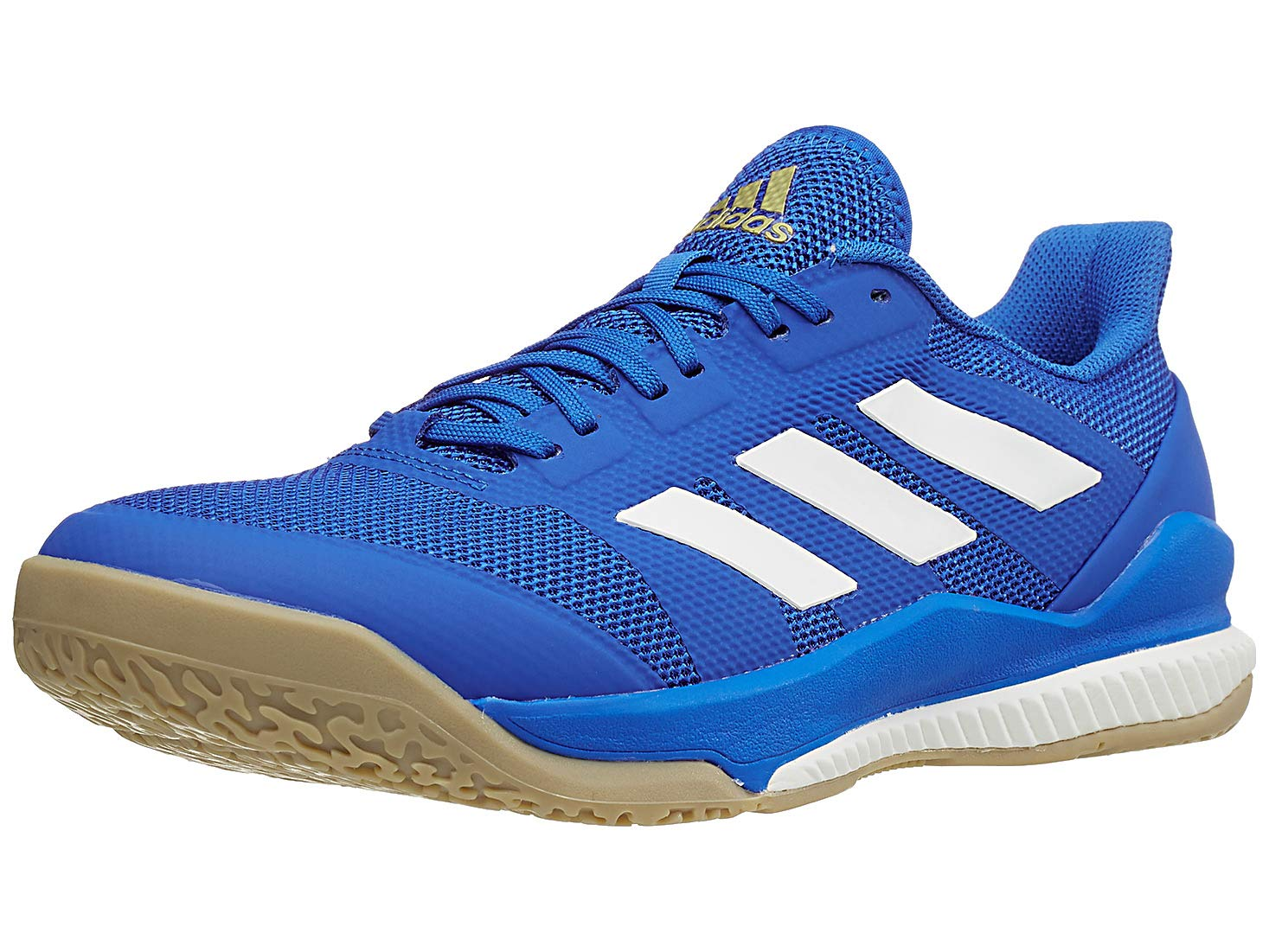 adidas Men's Stabil Bounce Volleyball Shoe, Blue/Off White/Gold Metallic, 10 M US by adidas