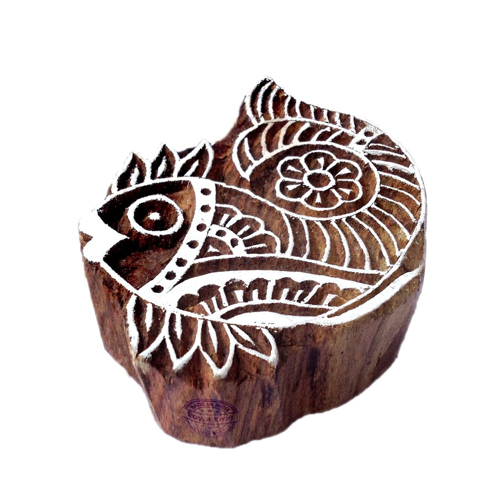 Handmade Fish Aquatic Design Wooden Printing Stamp Royal Kraft THDtag002