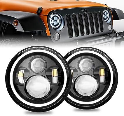 2Pcs 7/'/' Round LED Headlights Amber Halo Angel Eyes For Jeep Wrangle TJ 97-06