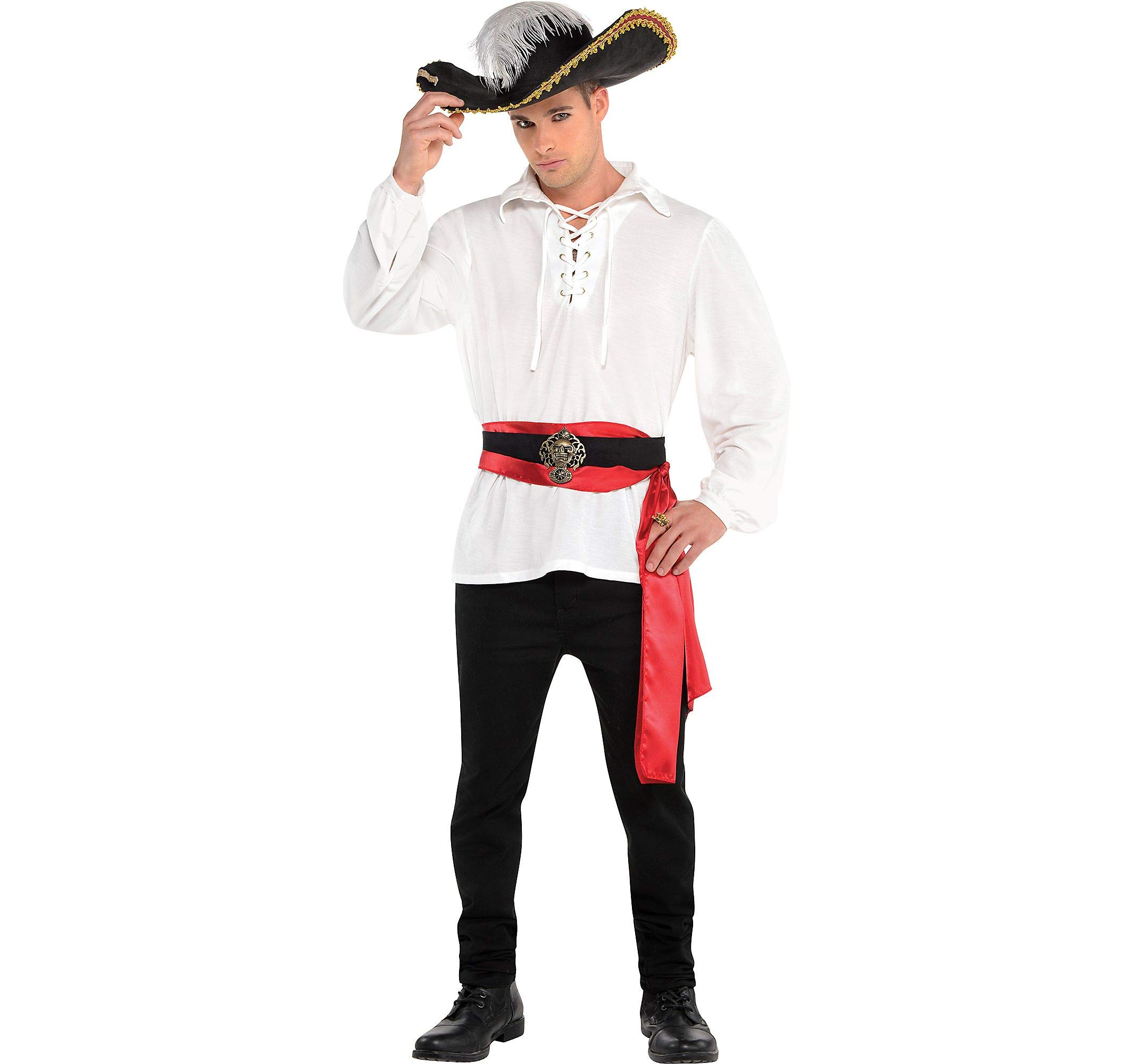 Amscan Pirate Shirt Halloween Costume Accessory for Men, White, Standard Size