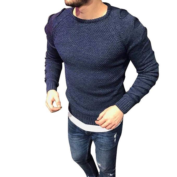 Modaworld _Camisas Hombre Suéter de Cuello Alto de Punto de los Hombres Suéter Chaqueta de Manga Larga Tops de Ajuste Delgado Camiseta Blusa Casual: ...