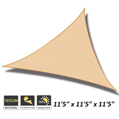 Cool Area 11 5 x 11 5 x 11 5 Triangle Sun Shade Sail for Patio Garden Outdoor, UV Block Canopy Awning, Sand