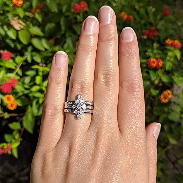 925 Sterling Silver and Zirconia multi row Statement Ring STACKING Rings Bold Stackable band rings Engagement Band Ring Wedding Ring