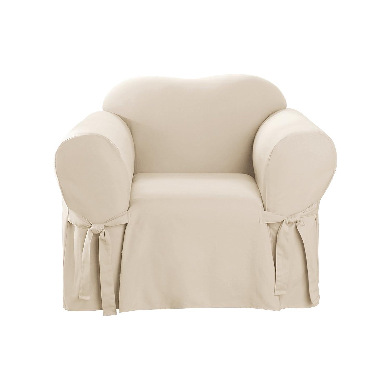 Miraculous Surefit Cotton Duck Chair Slipcover Natural Andrewgaddart Wooden Chair Designs For Living Room Andrewgaddartcom