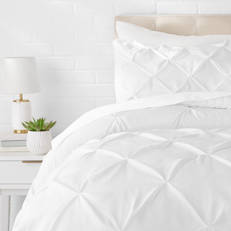 AmazonBasics Pinch Pleat Comforter Bedding Set, Twin, Bright White