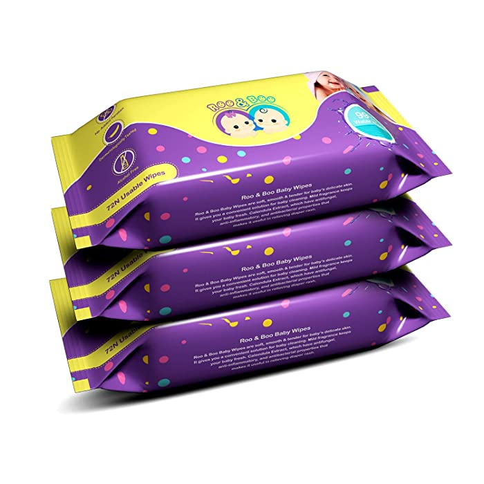 Roo & Boo Baby Wet Wipes - Paraben Free 99% Water Wipes (72 pcs/pack) (Pack of 3)