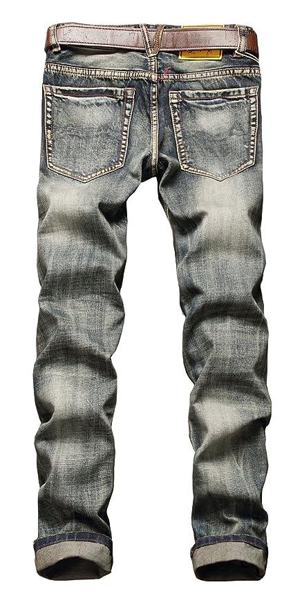 NITAGUT Mens Ripped Slim Fit Tapered Leg Jeans