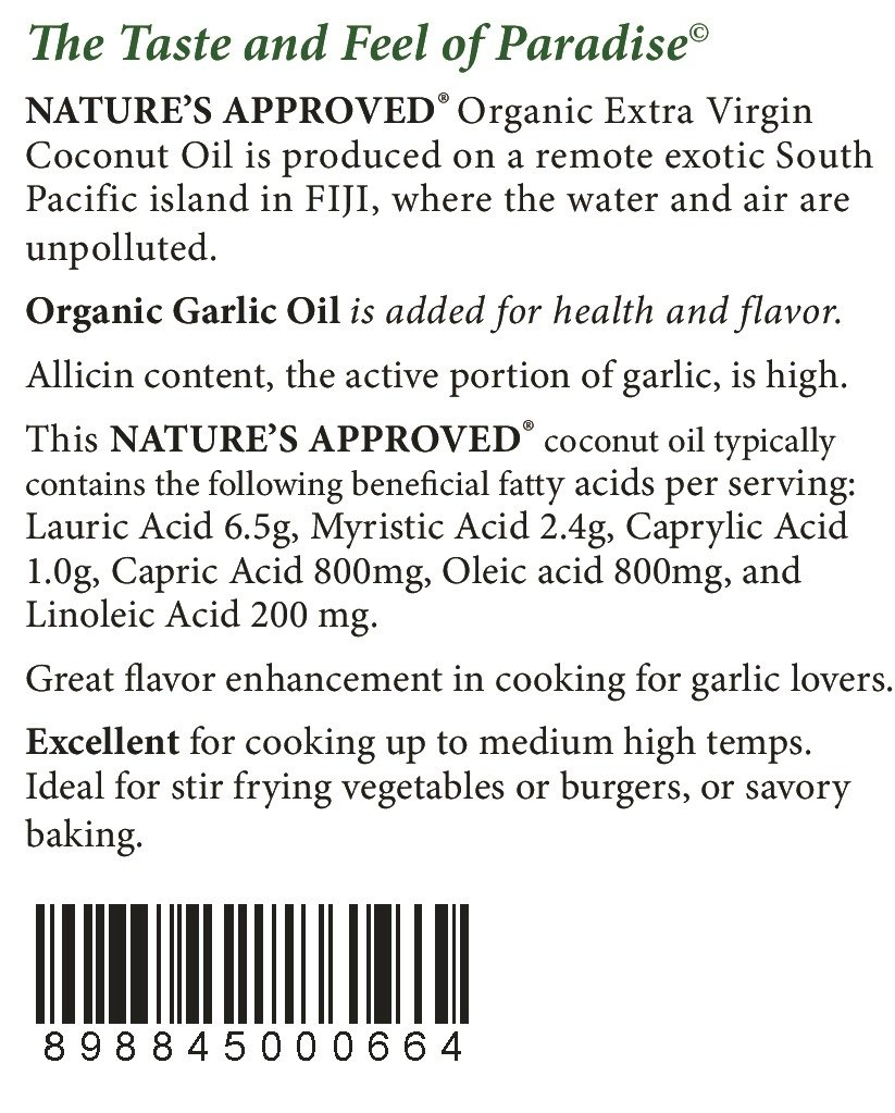 Organic Garlic Coconut Oil. Contains over 50% allicin. The Best Tasting Coconut Oil Certified Organic Extra Virgin Coconut Oil from the Beautiful Fiji Islands.(5 gal. Garlic) by Nature's Approved (Image #3)