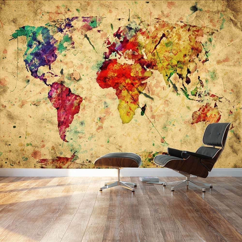 Wall26 large wall mural grungevintage world map self adhesive wall26 large wall mural grungevintage world map self adhesive vinyl wallpaper removable modern decorating wall art 66x96 amazon gumiabroncs Choice Image