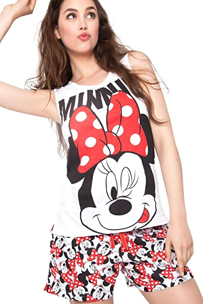 Disney - Pijama Para Mujer Minnie Mouse, Color: Blanco, Talla: M
