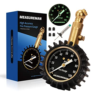 "Measureman 2"" Dial Tire Pressure Gauge, Tire Tread Depth Gauge Test Kit - 100 PSI, Pressure Hold and Release, 360 Degree Swivel, Glow-in-Dark Reading: Automotive"