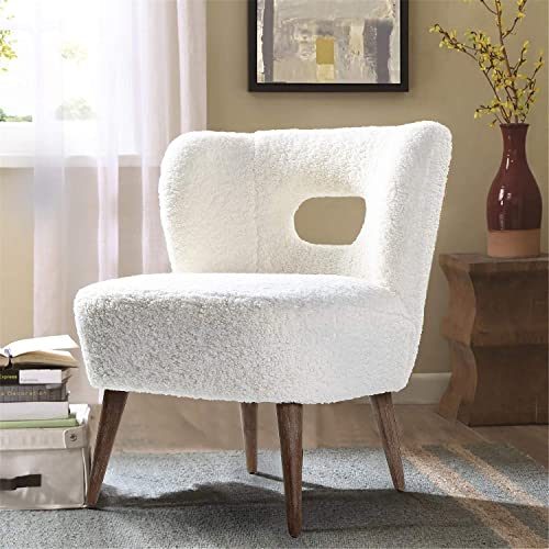 Mini Vegan Lambskin Sherpa Upholstery Barrel Chair for Small Space – Ivory