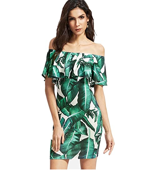 44f4dd6eb Women s Floral Print Leaf Off Shoulder Ruffles Cocktail Party Bodycon Mini  Dress Small Green
