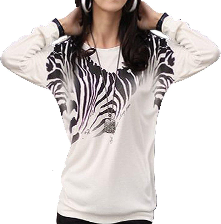 Sunny Day Mujer manga larga Zebra Casual camiseta floja Bating Top Blusas: Amazon.es: Ropa y accesorios