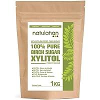 Natuiahan Xilitol 1KG. Azúcar de Abedul de Finlandia. Edulcorante 100% Natural. Envase Sellado Autocierre