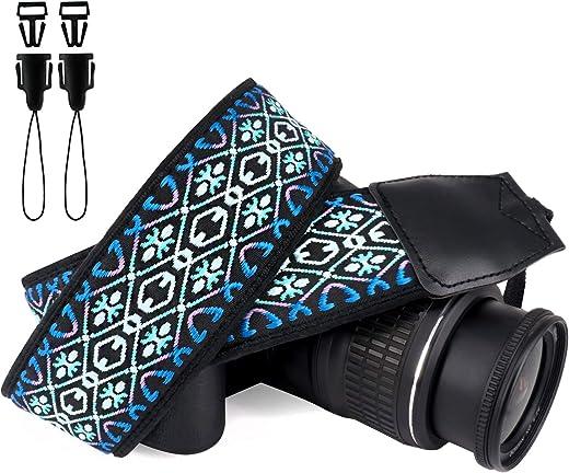 Wolven Vintage Jacquard Weave Camera Neck Shoulder Strap Belt Compatible with All DSLR/SLR/Digital Camera (DC)/Instant Camera/Polaroid etc, Blue Aztec