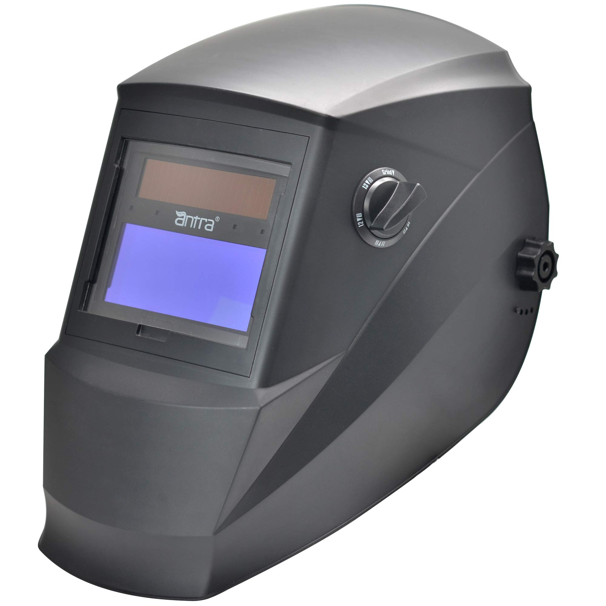 Antra Welding Helmet AH6-260-0000 Solar Power Auto Darkening Wide Shade Range 4/5-9/9-13 with Grinding 6+1 Extra lens covers Stable for TIG MIG MMA Plasma by Antra