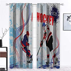 Bedroom Curtain Hockey Temperature Balance Shades Two Ice Hockey Players in Cartoon Style on Grunge Abstract Skating Rink Backdrop Home/Office Artistic Décor 2 Rod Pocket Panels, 42