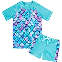 AIDEAONE Little Girls Two Pieces Rash Guard Swimsuit Set Short Sleeve Bathing Suit with Trunk UPF50+ Beach Swimwear 3…