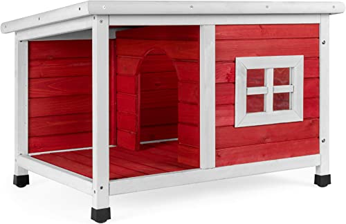 Best Choice Products All-Weather Fir Wood Pet Dog House w Porch, Window, Divider, Asphalt Lid Roof