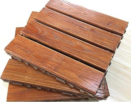 Suelo de madera maciza con mosaico para balcón, terraza, suelo de jardín, suelos de madera al aire libre: Amazon.es: Bricolaje y herramientas