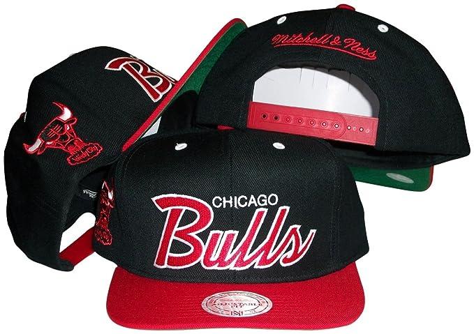 eb92eea7e9f Amazon.com   Chicago Bulls Script Black Red Two Tone Snapback Adjustable  Plastic Snap Back Hat   Cap   Sports Fan Baseball Caps   Clothing