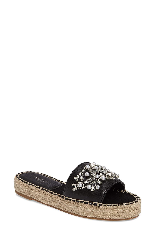 Black Botkier Womens Jin Leather Open Toe Casual Slide Sandals