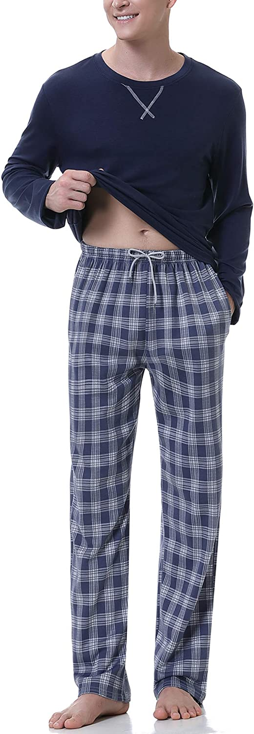 Irevial Men's Cotton Pajamas Sets Long Sleeve Crew Neck Soft Lounge Sleepwear with Pockets