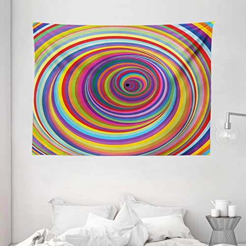 Ambesonne Rainbow Tapestry, Rainbow Colored Vortex Hypnotic Effect Optical Illusion Psychedelic Design Print, Wide Wall Hanging for Bedroom Living Room Dorm, 80 X 60 , Rainbow