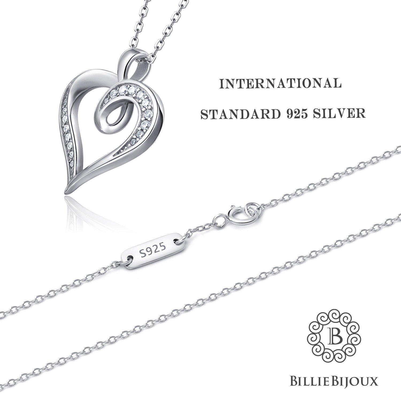 Billie Bijoux 925 Sterling Silver Infinity Love Heart Necklace Platinum Plated Round CZ Diamond Fine Woman's jewelry 18'' by Billie Bijoux (Image #2)