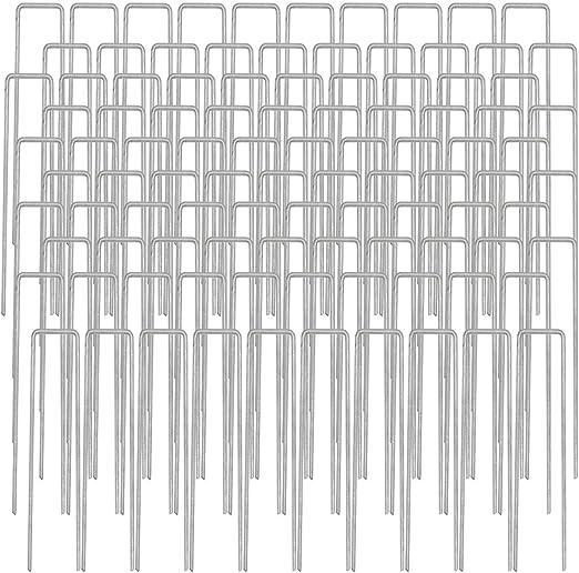 AMANKA Set de 100 Estacas de Acero galvanizado 150x30mm Metal Ø3 ...