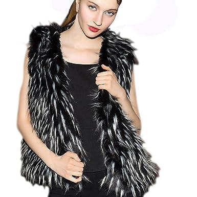 05b2f8a81f4 BOOMJIU Winter Women Warm Outwear Slim Vest Faux Fox Fur Winter Waistcoat  Jacket Coat at Amazon Women s Coats Shop