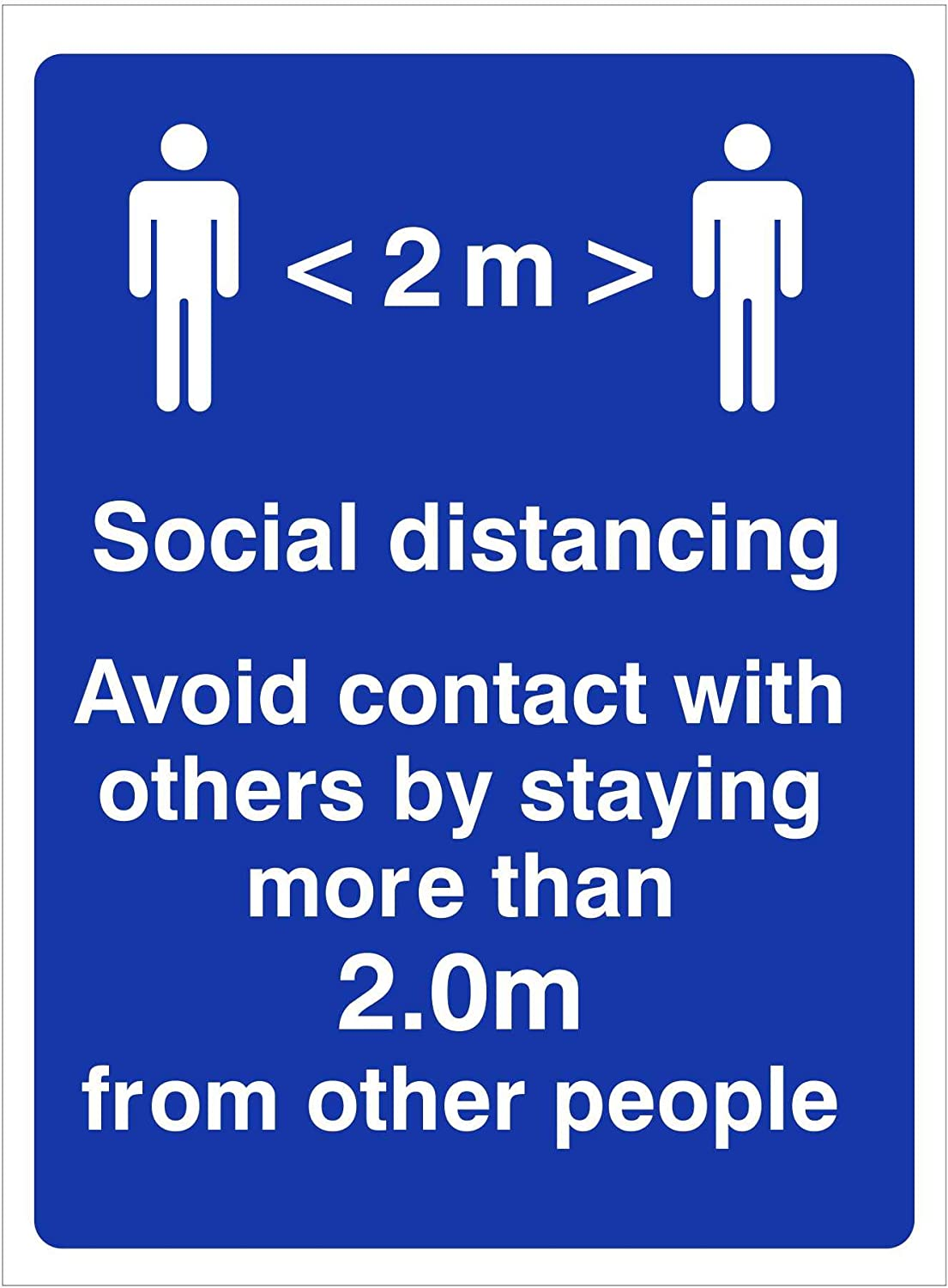 KEEP SAFE STAND 2M APART 300mm x 100mm Self adhesive vinyl sticker to fight the spread of viruses. Social distancing sign