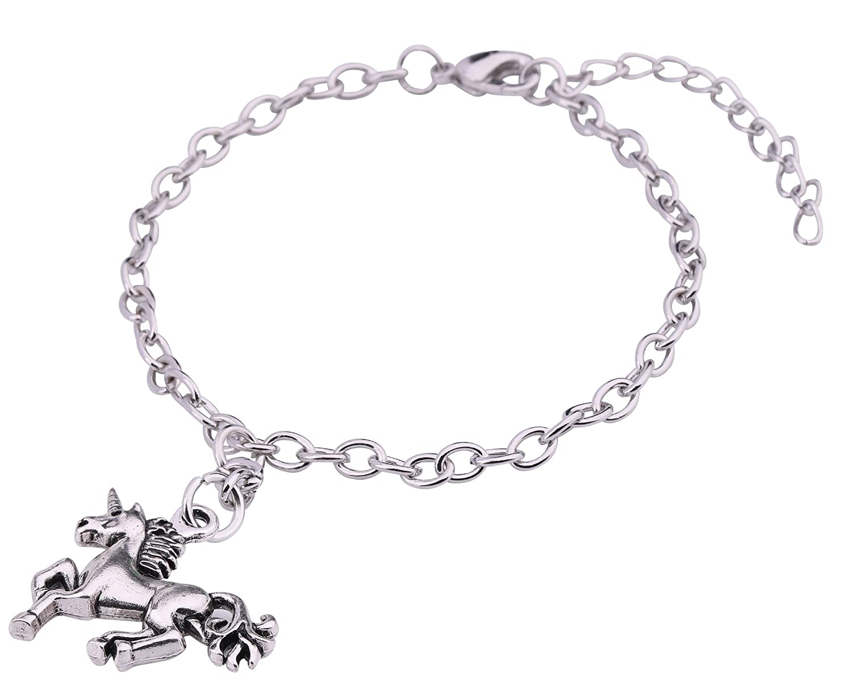 Fashion Horse Head Norse Myth Unicorn Pendant with Adjustable Link Chain Bracelet for Women Girls