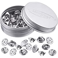 Mudder 50 Pieces Brass Butterfly Clutch Badge Insignia Clutches Pin Backs Replacement (Silver)
