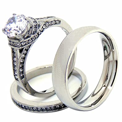 3087fe232ae Lanyjewelry His Hers Couples Ring Set Womens Round CZ Stainless Steel  Wedding Ring Set Mens Matching Band