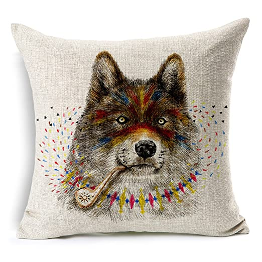 Manta Almohada de lino y algodón decorativa Funda de ...