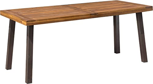 Christopher Knight Home 298192 Spanish Bay Acacia Wood Outdoor Dining Table Perfect for Patio with Teak Finis, Brown
