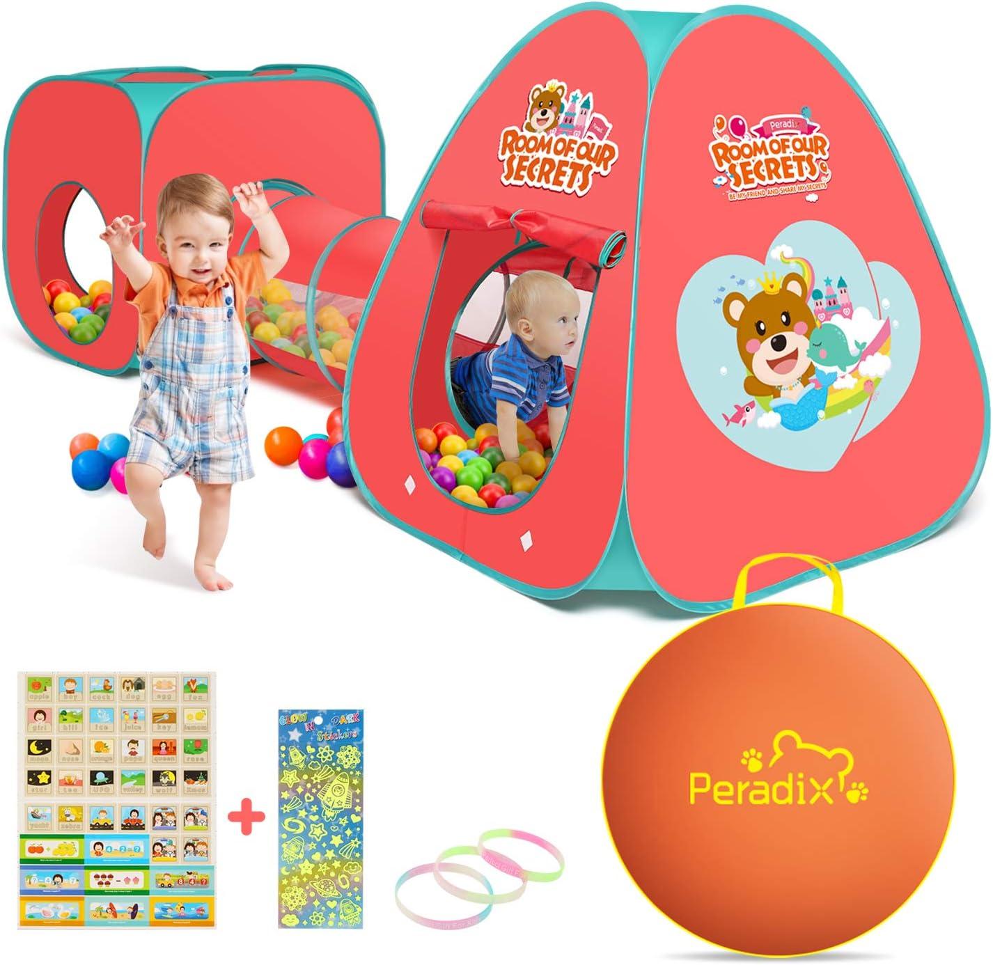 Peradix Túnel del Juego Infantil,3 en 1 Túnel del Juego y la Tienda de Campaña,Pop Up Tienda Campaña para Niños Interior Exterior Playhouse con Cuadro de Baloncesto Plegable (Bolas NO Incluido)