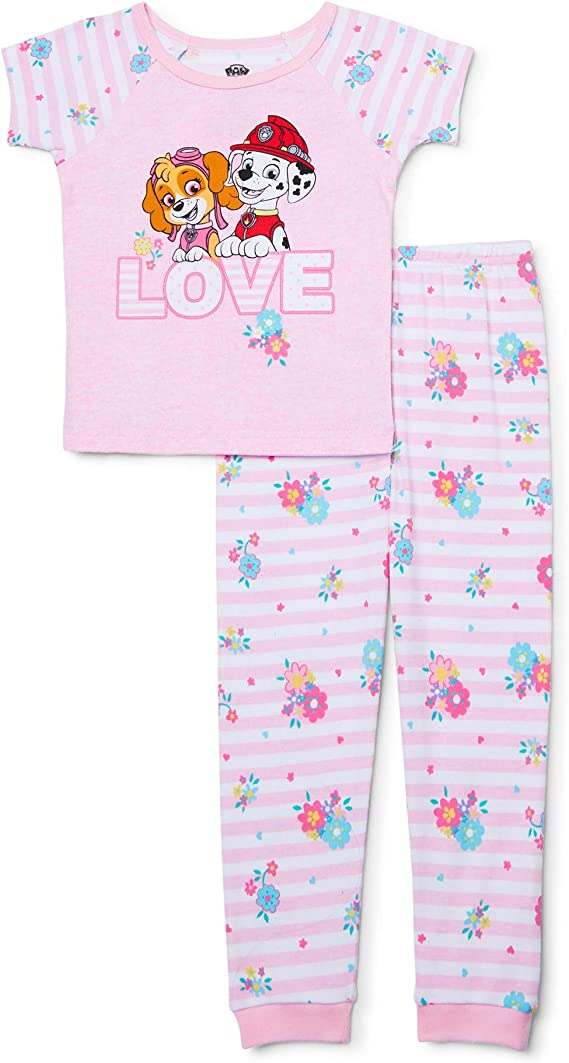 Paw Patrol Girls Short Pyjamas Kids Skye And Everest Shortie Pjs Set Size